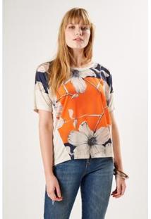 T-Shirt Malha Est Oasis Sacada Feminina - Feminino-Laranja+Azul