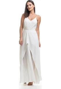 Vestido Longo Clara Arruda Busto Pregas - Feminino-Off White