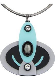 Colar Le Diamond Aro Com Pingente Oval De Acrílico Azul - Kanui