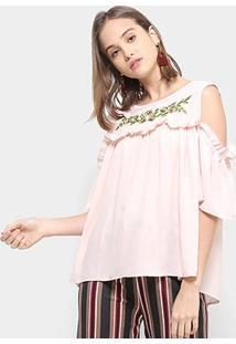Blusa Chic Up Bata Off Shouder Bordado Feminina - Feminino-Rosa