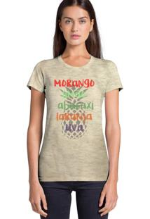 Camiseta Feminina Joss Estampada Flamê Joss Frutas Bege