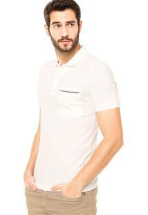 Camisa Polo Lacoste Viés Off-White