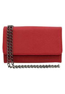 Bolsa Clutch Ponto K Pequena Alça De Corrente Vermelha