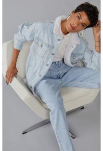 Jaqueta Amaro Jeans Com Pelo Gola Indigo Claro - Azul - Feminino - Dafiti