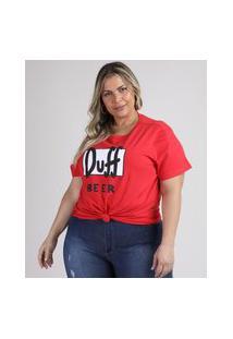 Blusa Feminina Plus Size Duff Beer Os Simpsons Manga Curta Decote Redondo Vermelha