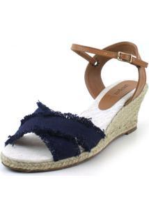 Sandália Anabela Flats&Co Lona Azul