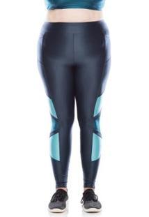 Legging Fitness Plus Size Geo Plus - Feminino-Azul