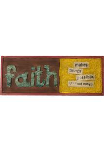Quadro Metal Efeito Colagem Faith Verm. Retangular 20X56X2Cm