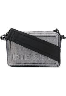 Diesel Bolsa Transversal Jeans Boxy - Prateado