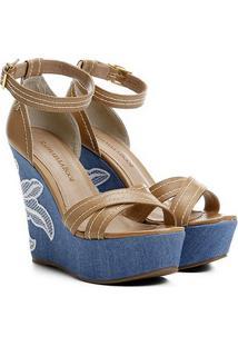 Sandália Raphaella Booz Anabela Bordado - Feminino-Bege+Azul