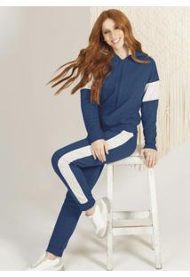 Conjunto Com Jaqueta E Calça Em Moletom Azul