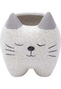 Cachepot Cerâmica Sleeping Cat Cinza 12X16,3X11 Cm Urban