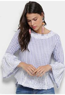 Blusa Lily Fashion Listrada Renda Feminina - Feminino-Azul