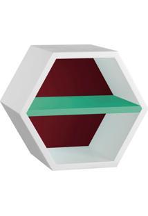 Nicho Hexagonal Favo Ii Com Prateleira Branco Com Bordo E Verde Anis