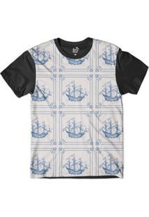 Camiseta Long Beach Náutica Retrô Sublimada Masculina - Masculino-Branco+Preto
