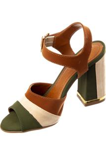 Sandália Butique De Sapatos Tricolor Verde