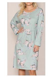 Camisola Peitilho Abotoável Floral Pzama (50009) 100% Algodão