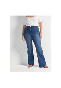 Calça Flare Jeans Com Botões Metalizados Curve & Plus Size | Ashua Curve E Plus Size | Azul | 54