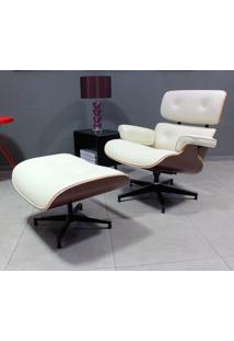 Poltrona E Puff Charles Eames - Madeira Jacarandá Tecido Sintético Bege Dt 01022797