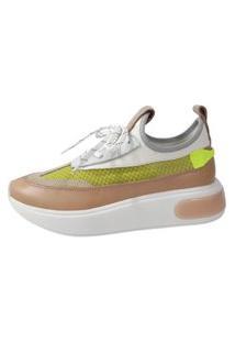Sneaker Couro Smidt Nude/Areia/Lima
