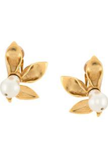 Oscar De La Renta Par De Brincos Flower Pearl - Gold