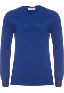 Blusa Masculina Tricot Fechado Gola V Mescla - Azul