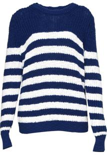 Blusa Michael Kors Stripe Slubby Ls Crew Branco/Azul
