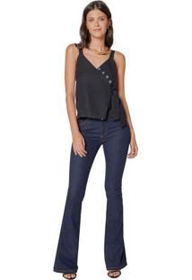 Calça Jeans Flare Botões Internos