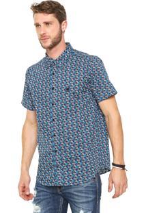 Camisa Cavalera Reta Floral Azul-Marinho