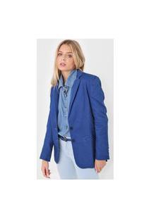 Blazer Jeans Forum Botão Azul
