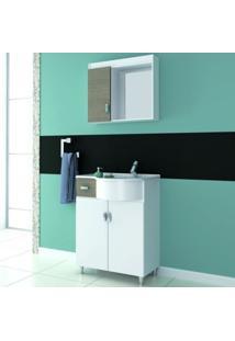 Gabinete Para Banheiro Com Espelheira Balcony Kit 065 Curvo Não Acompanha Torneira Branco/Linho/Branco