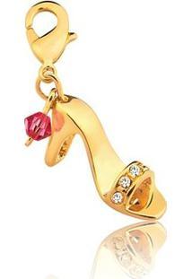 Pingente Toque De Joia Sapatinho Cristal Swarovski - Feminino-Dourado