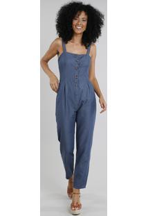 Macacão Jeans Feminino Com Botões Azul Escuro