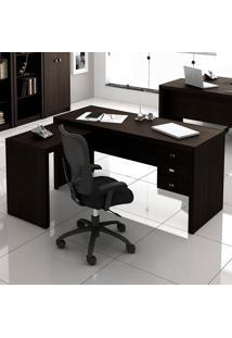 Mesa Para Computador Com 3 Gavetas Me4106 - Tecno Mobili - Tabaco