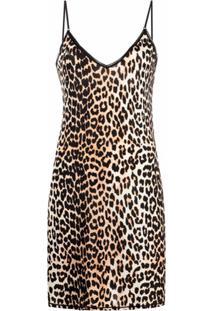 Ganni Vestido Reto Com Estampa De Leopardo - Neutro