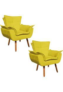 Kit 02 Poltrona Decorativa Opala Suede Amarelo - D'Rossi - Amarelo - Dafiti