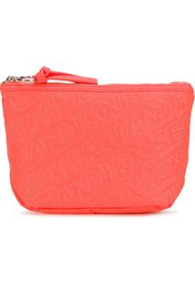 House Of Holland Clutch Com Bordado De Logo - Laranja