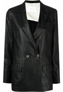 Tela Blazer Com Abotoamento Duplo Com Acabamento Encerado - Preto