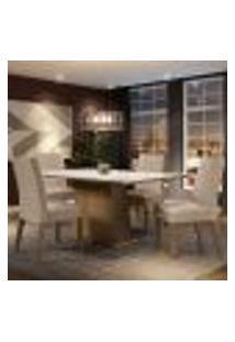 Conjunto Sala De Jantar Madesa Sabrina Mesa Tampo De Vidro Com 4 Cadeiras - Rustic/Branco/Imperial