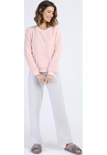 Pijama Feminino Em Fleece E Plush Manga Longa Rosa Claro
