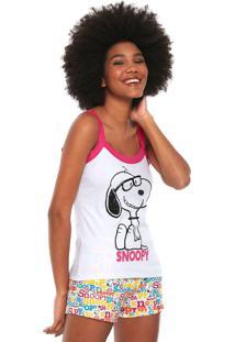 Short-Doll Snoopy Estampado Branco/Rosa