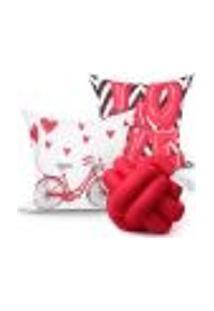 Kit Capa Almofada Vermelha Love Decorativa 2 Unidades 45Cm X 45Cm + Almofada De Nó Escandinavo