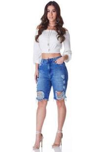 Bermuda Jeans Zait Comprida Mel Feminina - Feminino-Azul