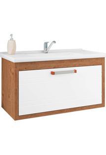 Gabinete Suspenso Para Banheiro Jade 44X79,3Cm Amêndoa E Branco