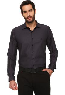 Camisa Dudalina Quadriculada Cinza/Preto