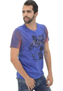 T-Shirt Opera Rock Tigre Flores Azul
