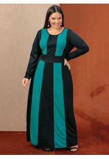 Vestido Longo Preto E Verde Recortes Plus Size