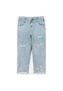 Calça Reta Jeans Lisa Com Rasgos Curve & Plus Size | Ashua Curve E Plus Size | Azul | 48