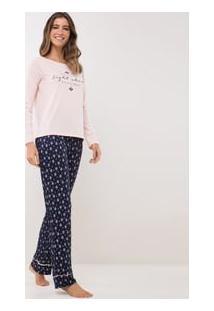 Pijama Manga Longa Com Estampa Gravataria