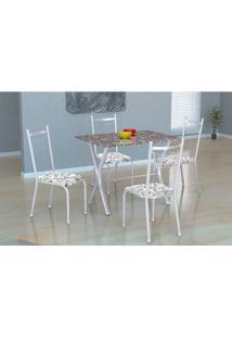 Conjunto De Mesa Miame Com 4 Cadeira Lisboa Fabone Branco Prata Com Branco Floral